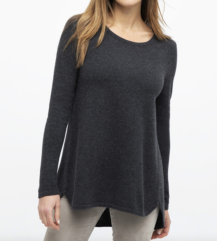 Hand crafted luxury from our favourite new cashmere brand Kinross.  Pure, natural, soft and sophisticated Kinross create timeless pieces that you will wear and love forever.    The Pleat Back Jumper is a flattering piece (also available in store in navy & black) with a relaxed a-line shape and a pleat detail at the back.  Perfect with your skinny jeans.