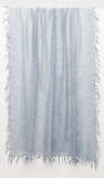 Hand crafted luxury from our favourite new cashmere brand Kinross.  Pure, natural, soft and sophisticated Kinross create timeless pieces that you will wear and love forever.    This beautiful pale blue 100% cashmere scarf is scrumptiously soft and with a delicate fringed edging this is just want you want to wrap around yourself for a bit of extra warmth!