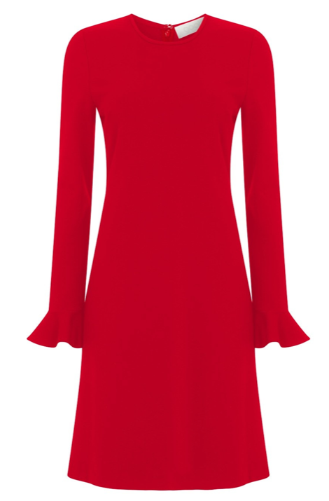 Another gorgeous dress from Goat.  Crafted from their high quality jersey fabric in a pretty raspberry colour this is a perfect dress to wear now with bare legs and then when the temperature drops with tights.  With a pretty ruffled cuff and an easy to wear shape this is a classic that will never date.