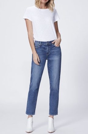 Our favourite relaxed boyfriend jean from Paige is back and this time she is in the perfect wash for this transitional period.  With a little bit of distressing and a slim cut this has the look of authentic denim with the bonus of an incredibly comfortable stretchy fit.  Jeans to live in.