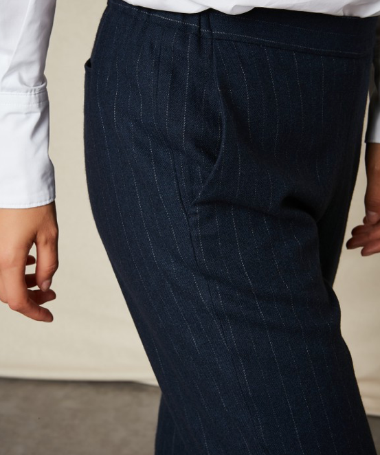 Paolo Navy Pinstripe Trousers