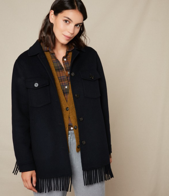 Say hello to Vany.  Channel your inner cowgirl with this gorgeous navy  jacket from classic French brand Hartford with fringing at the cuff and hem.  With a relaxed boxy shape this looks perfect with your denim.  What's not to love!