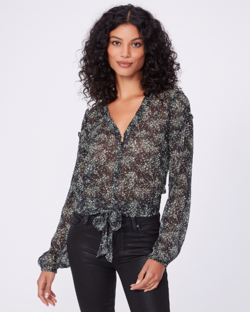 Gorgeous tie at the waist blouse from Paige in a delicate floral print.  With a v neck and blousy sleeves this will look fab with your dark denim or black jeans.  Would also look great paired with a slim bias cut maxi skirt.
