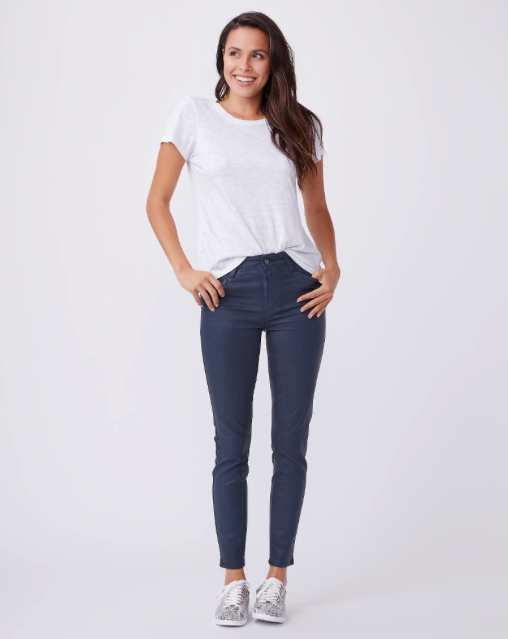 Paige's classic high rise Hoxton gets an update in a sleek coated denim with an angular trouser pocket.  This jean has a luxe leather look with the comfort of a traditional jean.  Incredibly soft and loads of stretch this is one you'll reach for again and again.  Perfect from  morning to midnight.