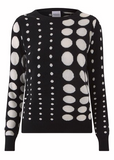 Scrumptiously soft thick cashmere jumper from Madeleine Thompson.  In black with a dare I say groovy circle pattern - this is a cashmere jumper with a difference.  Pair with your favourite denim or black leather and you'll feel warm and stylish.
