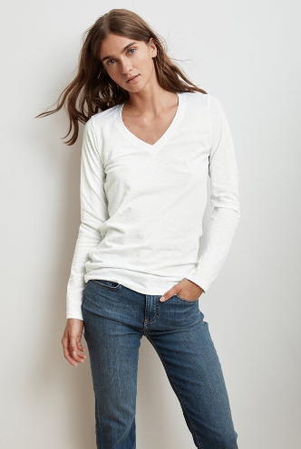 Say hello to Bridget.  Crated from Velvet by Graham & Spencer's signature cotton slub this is the softest tee you'll ever find.  With the perfect v and a slightly relaxed shape this will be one you turn to again and again - you'll want it in every colour!