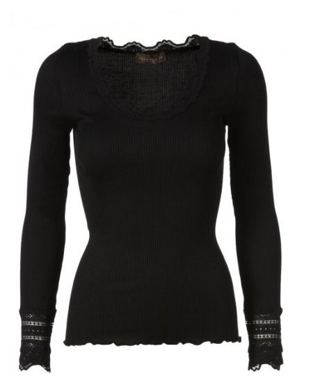 Scrumptiously soft long sleeved fitted top with lace at the neck and cuff and a curl edge at the bottom.  A very slim fit which is perfect for layering under your knitwear or a jacket.