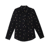 The Kate is a long sleeve button-down shirt from Rails made from 100% silk. This super-soft shirt comes with a single front pocket in a fun animal and star print.  Looks great tucked in to your Paige jeans for a sophisticated casual look.