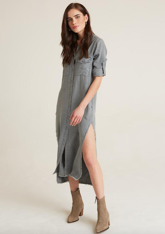 Maxi Grey Shirt Dress