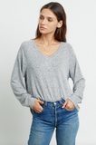 Gorgeous super soft lightweight long sleeve grey v neck sweatshirt from our favourite Los Angeles brand.  Featuring the perfect v and a flattering longer hem at the back this is just right for relaxing at home in style or layering when you are out and about.  Pair with the Callahan sweatpants from Rails or your favourite denim.