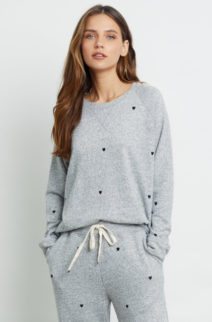 Our favourite super soft crewneck sweatshirt from easy living brand Rails is back - this time with pretty little hearts.  Pair with the matching Oakland Sweatpant for relaxing at home or pair with a skirt or denim and go about your day in comfort but with style.