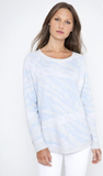 What a brilliant idea to create a cashmere and cotton blend sweatshirt!  This super soft long line relaxed fix sweatshirt in a gorgeous blue/grey/lilac wave pattern elevates the sweatshirt to a whole new level!  Perfect with your favourite white jeans or dress it down with your favourite joggers.