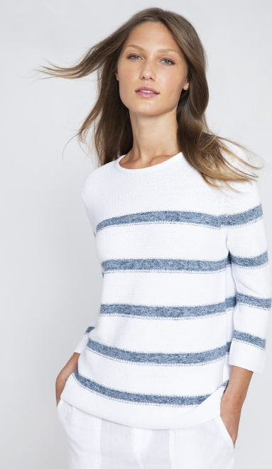 Gorgeous chunky cotton knit pullover from Kinross Cashmere.  With a nod to preppiness and summer days aboard a sailboat this pretty striped jumper looks perfect paired with your favourite denim.