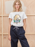 Super soft tee in 100% organic cotton with a romantic message on the front!  With thin ribbing along the neck line and the sleeves this piece will elevate your tee collection!  Pretty paired with denim or trousers but also quite Scandi cool paired with the Tacuba Skirt from Munthe.