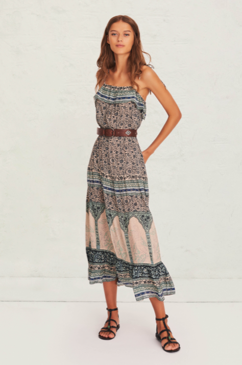 Gorgeous spaghetti strap midi dress from uber cool French brand ba&sh.  With adjustable tie straps, a drawstring waist and pretty ruffled hem you will put this on and be transported to a pretty Summer's day.  Pair with your favourite trainers or dress up a bit with a delicate sandal.
