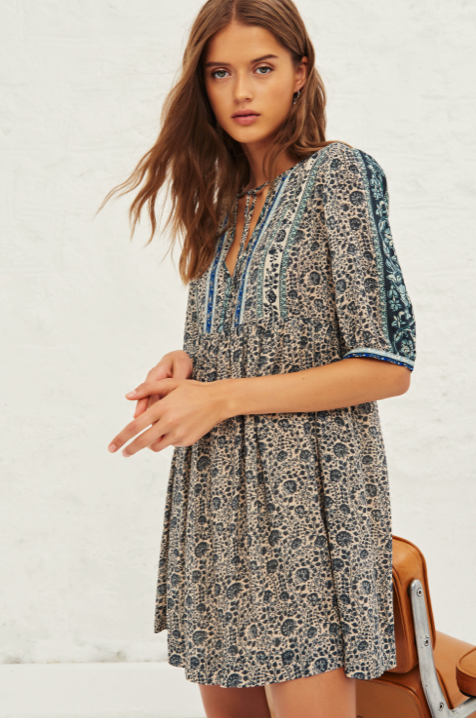 Sometimes nothing but an easy to wear pretty short dress will do!  This gorgeous little number from uber cool French brand ba&sh ticks all our boxes.  With a relaxed shape, a pretty v at the  neck with tie strings this looks fab paired with trainers or dress it up a bit with a pretty sandal.