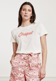 This pretty tee from Fabienne Chapot is super soft.  With Chapot in 3-d terry in a pretty pink this looks great paired with denim or your favourite shorts when it heats up!