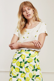 The Kris Lime Tee from Fabienne Chapot with an abundance of pretty embroidered limes on it evokes memories of holidays and summer skies.  Crafted from super soft cotton this feels fab against your skin.  With a round  neck and short sleeves this looks great paired with  your favourite shorts.