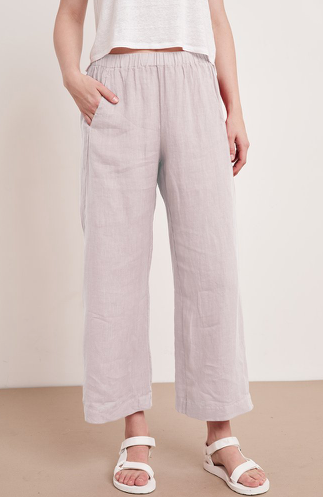 Velvet by Graham & Spencer's fabulous Lola trousers are back this season in a colour they are calling cement.  It's a dusty pinkish grey colour and a really good neutral.  Crafted from woven linen these easy to wear pull on trousers feature a relaxed leg and a very slight ankle crop making them the perfect choice for a summer day.