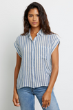 Can one ever have enough lightweight linen tops in the Summer?!  This pretty short sleeved button down top from our go to casual brand Rails features a longer hem in the back and a relaxed flattering shape.   This season Rails has done it in a preppy light blue stripe - perfect with white denim.