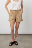 Crafted from vintage washed lightweight fabric in a neutral colour these are shorts to live in.  Featuring elasticated waistband (yay!) and side pockets these will be your new go to shorts.