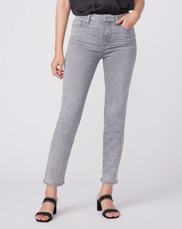 Cindy from Paige is effortlessly cool and extremely flattering with a high rise straight leg and belongs in every wardrobe.  In a medium grey wash this is an endlessly versatile jean with a bit of lived in distressing, subtle whiskering and silver hardware.  Pair with a pretty white top or your favourite tee.