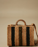 Pretty little raw jute bag from Hartford.  Featuring navy and olive stripes, top handles, an interior cotton pouch and a shoulder strap this is perfect for pairing with your Spring/Summer wardrobe.