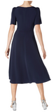 Gorgeous silk fit and flare dress in Indigo from Goat with gathered ruched detail across the body and short flared sleeves.