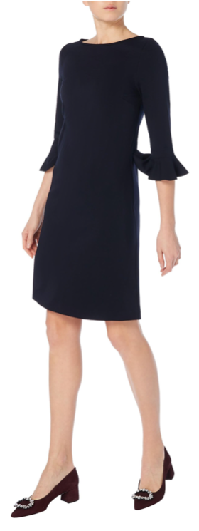 Lovely tunic dress from Goat made from soft and flattering stretchy jersey fabric with bracelet length sleeves and elegant fluted cuffs with an attractive boat neckline.