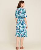 Lovely easy to wear floral patterned viscose wrap over dress with a self tie viscose cord from Hartford.
