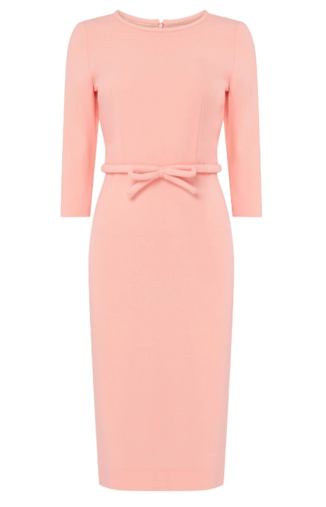 Beautifully fitted pencil dress with padded neckline and padded belt around the waist featuring a bow at the front from Goat.