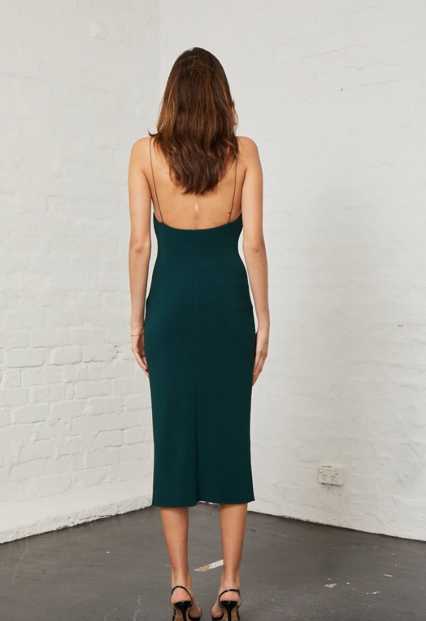 Stunning body con dress from Bec & Bridge in a lovely rich green.