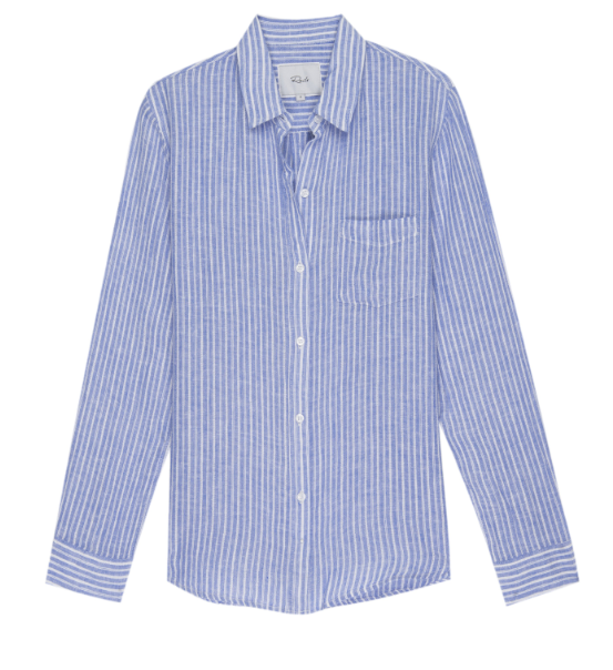 Striped, long sleeve button-down top with high-low shirttail hem, and single chest pocket. Lightweight, breezy linen fabric mixed with a relaxed body shape makes the Charli the perfect Southern California inspired button-down. (Tied in front on model for styling purposes.)