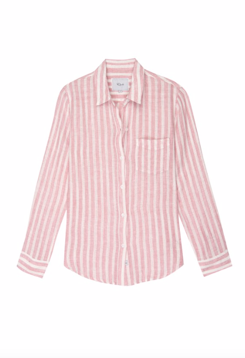 Striped, long sleeve button-down top with high-low shirttail hem, and single chest pocket. Lightweight, breezy linen fabric mixed with a relaxed body shape makes the Charli the perfect Southern California inspired button-down.