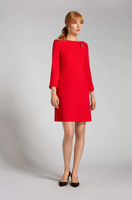 Gorgeous wool crepe tunic dress from Goat with pretty bow keyhole detail at the side neck line.  Pretty for any occasion.