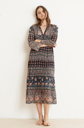 Haute hippy, crafted from a breezy, lightweight woven this fab frock from Velvet comes with a detachable slip.  It features buttons to the waist and flares out gently to a mid-calf fuller skirt.  We adore the hint of sheer that pokes through on the sleeves and hemline.  Just add your leather slides.