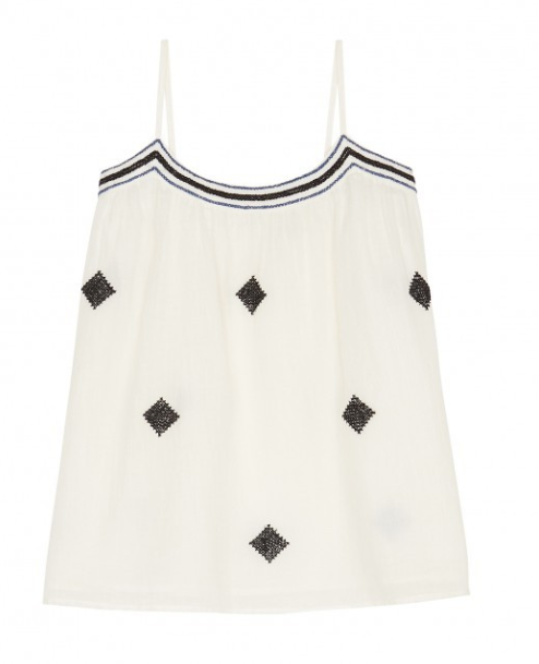 Lovely sleeveless ethnic embroidered top in white cotton gauze with pompoms self-tie shoulders straps from Hartford.