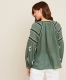 Ethnic embroidered blouse in green cotton gauze, raglan armholes and a self-tie neckline from Hartford.