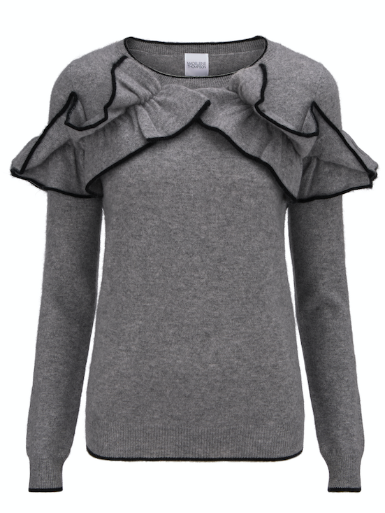 Gorgeous cashmere jumper from Madeleine Thompson with ruffle detail and black piping.