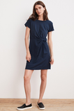 Dress with a twist. Crafted from Velvet's superior cotton slub, which has a soft hand and heathered texture, this easy frock is the epitome of a quick change. With a silhouette like an oversized tee it's been given a flattering cinch at the waist with a knot detail. This beauty is vacation and weekend ready.