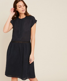 Dark navy cotton voile dress. Embroideries on neckline, transparent lace details on shoulders and waist.