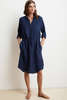 The good blues.  Crafted from a lightweight linen, this natural beauty features a full button placket, a drawstring at the waist and a scooped hemline.  There is also a patch pocket on the left side of the chest and slash pockets at the hip.  Spring essential from Velvet.