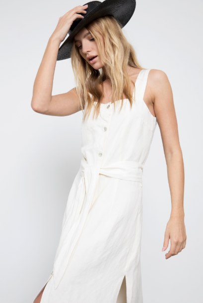 "Sleeveless, button-down front, midi-length column tank dress featuring 10 3/4"" side slits, shell buttons, and a removable belt. Made from heavy linen and fully lined with soft 100% rayon fabric. Sleek sophistication meets easy wearability with this must-have new style."