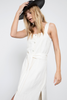 Sleeveless, button-down front, midi-length column tank dress featuring 10 3/4