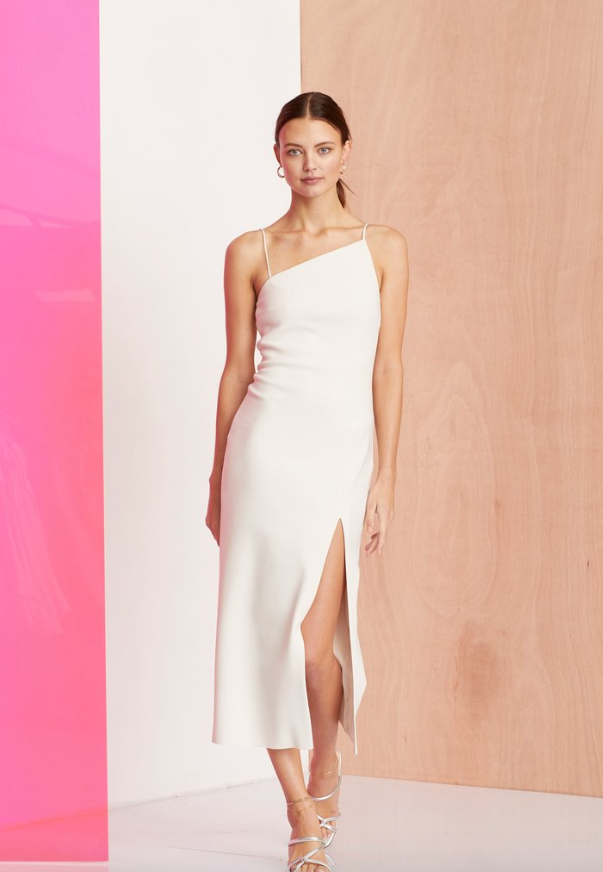 Sleeveless fitted midi dress with asymmetrical neckline