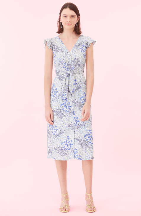 An elegant way to wear our favorite floral print of the season, this button-up dress is crafted from silk jacquard that lends a lustrous finish.