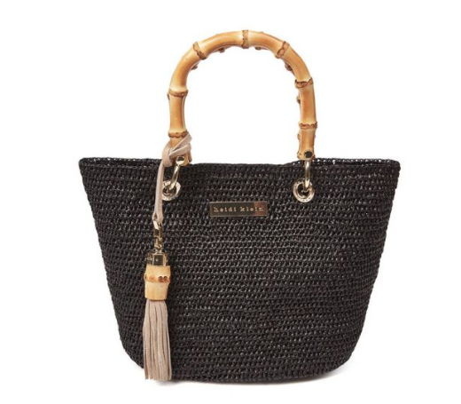 The Savannah Bay Super Mini Bamboo Bag is a versatile mini sized handwoven raffia bag with natural bamboo handles and a suede tassel trim to finish. The lightweight natural raffia tote is ideal for packing and suitable for beach retreats or city escapes. *Composition: 100% natural raffia