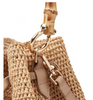 A versatile mini sized bag providing, practicality sophistication and style from handwoven and handcrafted natural materials. One internal open pocket.