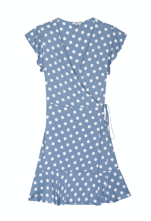 Short flutter sleeve functional wrap dress with flounce bottom hem from Rails.  Sleek with clean lines, yet still cute and fun featuring a polka dot print.