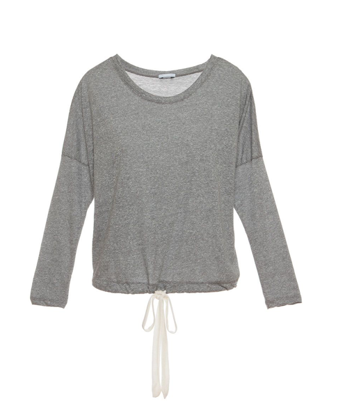 Here comes the Heather Collection from Eberjey - cute, cozy, and just right! The slouchy tee turns the ordinary long sleeve tee-shirt on its head, with a flattering wide neckline and the added surprise of a ribbon drawstring bottom for a custom fit.